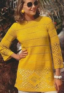 Blusa ganchillo amarilla con esquemas