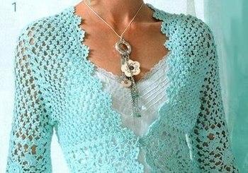 Elegante bolero en crochet con patrones
