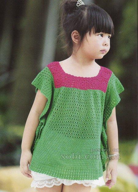 Túnica crochet bicolor niña
