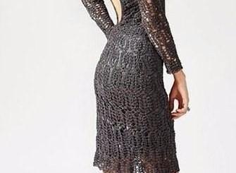 Vestido ganchillo dama elegante con esquema