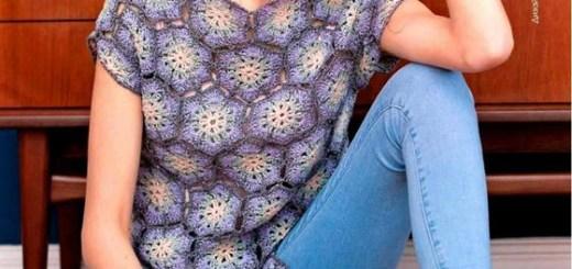 Blusa de crochet fácil con motivo