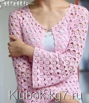 Blusa en ganchillo color rosa