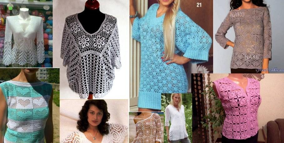 Colección de blusas tejidas al crochet con patrones