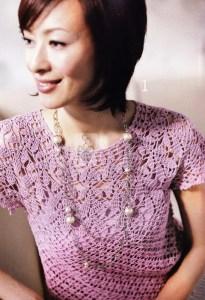 Blusa crochet cuello redondo