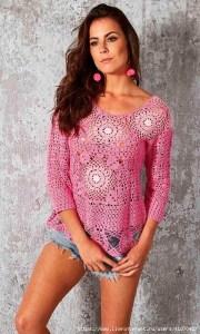 Crochet blusa con granny