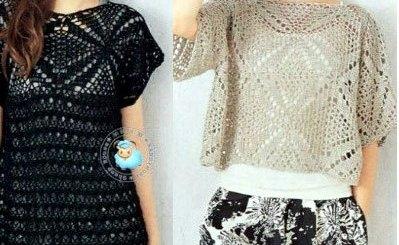 Top crochet corto y largo