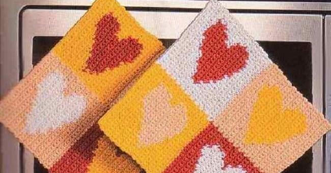 Toma Ollas Corazones Crochet