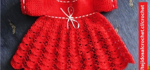 Vestido Niña en Gancho Rojo