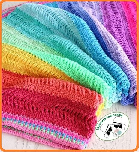 Mantas de lana hechas a ganchillo