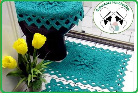 adornos a crochet para el baño