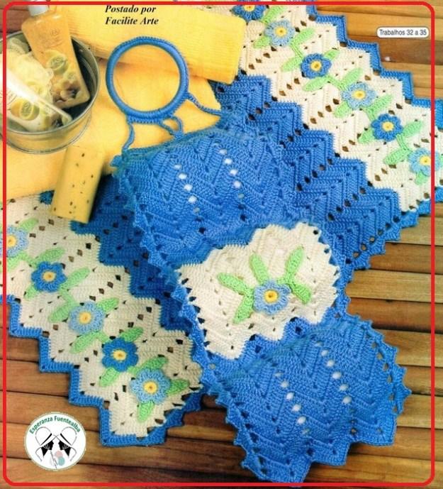 Juego de baño crochet patrones con esquemas y gráficos incluidos