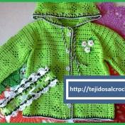 Chaleco tejido a crochet para niña