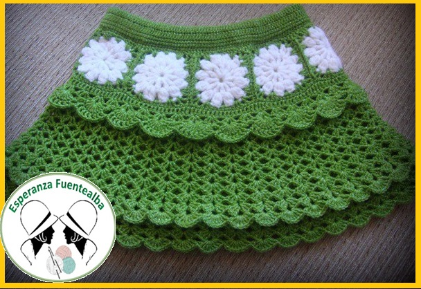 d929dfedc Faldas tejidas a crochet para niña, Hermosa falda tejida con gancho