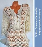 Blusa de Encaje a Ganchillo. Patrón de lujo. Blusa hermosa muy elegante