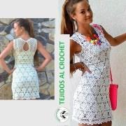 Patrones de vestidos tejidos. Lindo y elegante vestido de encaje