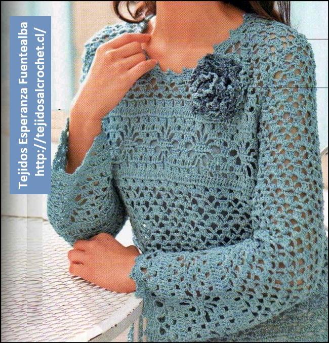 Tejer chaleco. Esquema de lindo chaleco en crochet, calado, manga larga
