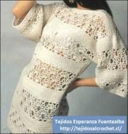Tejido crochet. Esquema de hermoso bluzón tejido a gancho