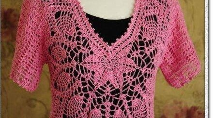 Esquema blusa crochet manga corta