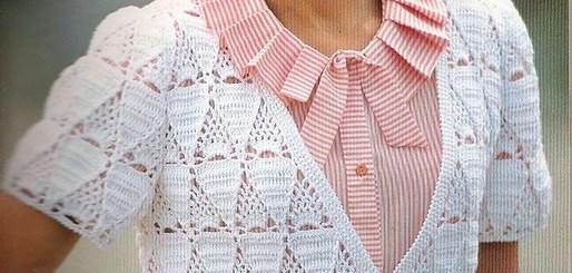 Esquema bolero de crochet romántico