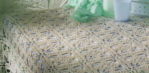 Esquema mantel crochet cuadrado