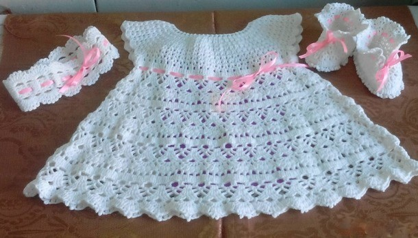 6b75bf06f ▷ Esquema vestido crochet bebe recién nacido - ⭐️Tejidos al ...