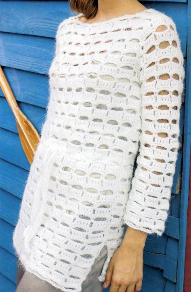 Jersey ganchillo semicalado manga larga