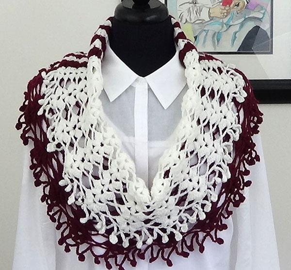 Crochet Bufanda en Dos Colores - Tejiendo de Corazon
