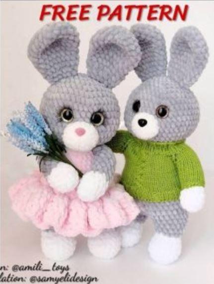 Patrón gratis conejos amigurumi