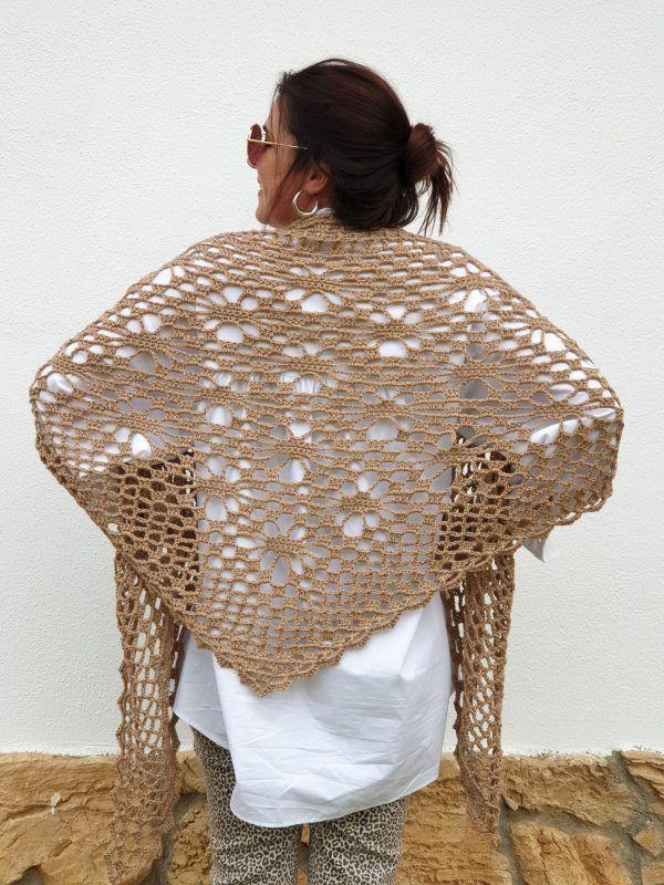 Patrón gratis chal vintage camel crochet