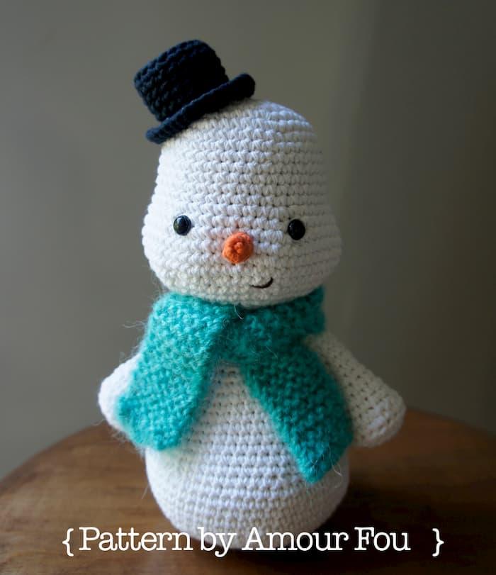 Patrón gratis muñeco nieve amigurumi crochet