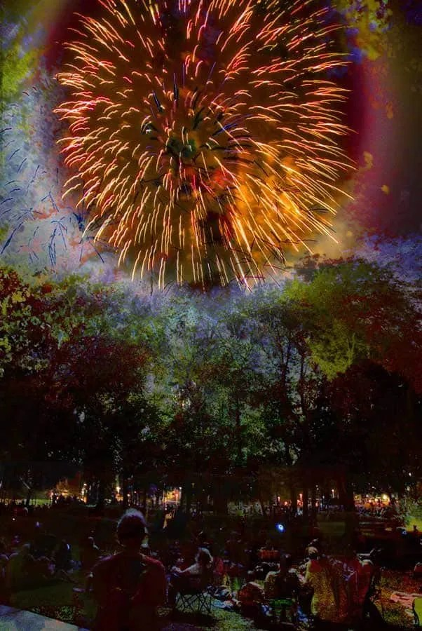 Fireworks, teaching-photography, multi-layered,