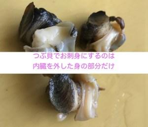 つぶ貝の刺身は身の部分だけ