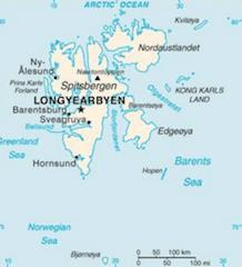 スバールバル諸島の地図