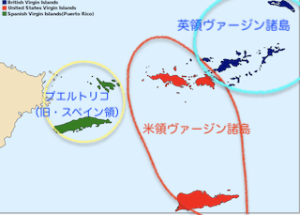 ヴァージン諸島の地図上の配置