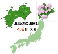 北海道に四国は4.6個入る