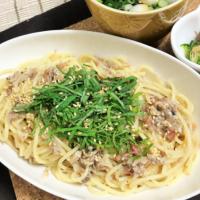 サバ缶と梅肉ソースの簡単パスタ