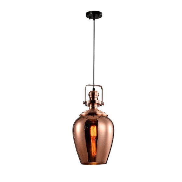 Lyustra 6576-1CP E27 COPPER GLASS+GB METAL (TEKAVI