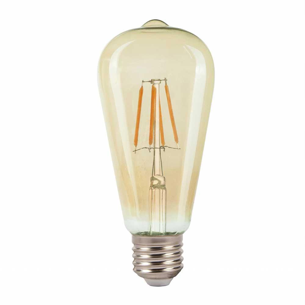 Lampa LED ST64 AMBER 5W E27 2700K (TL)100sh