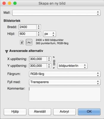 header gimp storlek dokument