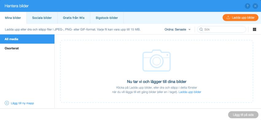 wix-tutorial ladda upp bilder
