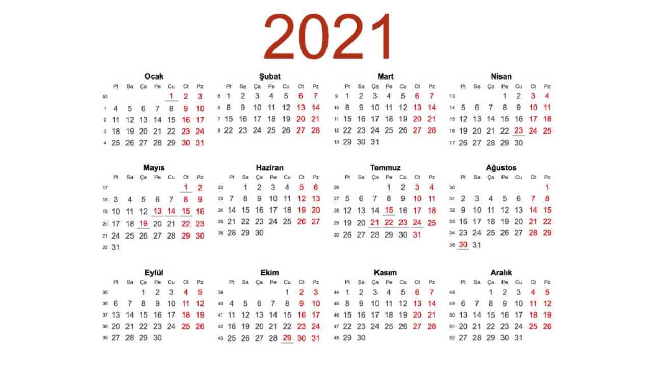 2021 yılındaki tüm resmi tatiller