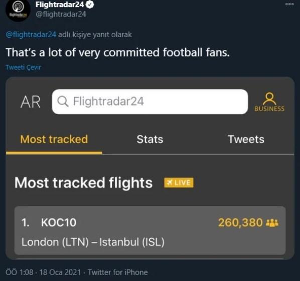 Flightradar24 Paylaşım Yaptı: Fenerbahçe'ye Transfer Olan Mesut Özil'in İstanbul Uçuşunu 300 Binden Fazla Kişi Takip Etti