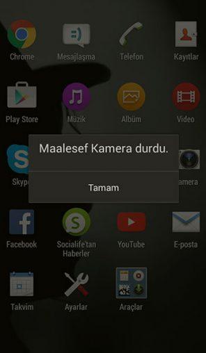 Android Maalesef Kamera Durduruldu