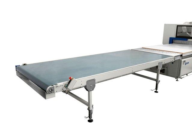 Ленточный транспортёр выгрузки с фотоэлементом для остановки Morbidelli N100, производство SCM (Италия)