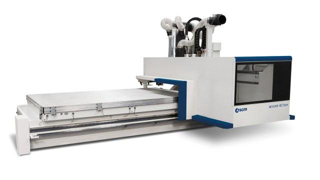 Обрабатывающий центр с ЧПУ ACCORD 40 FXM c высокопроизводительным мультифункциональным алюминиевым рабочим столом, производство SCM GROUP (Италия)