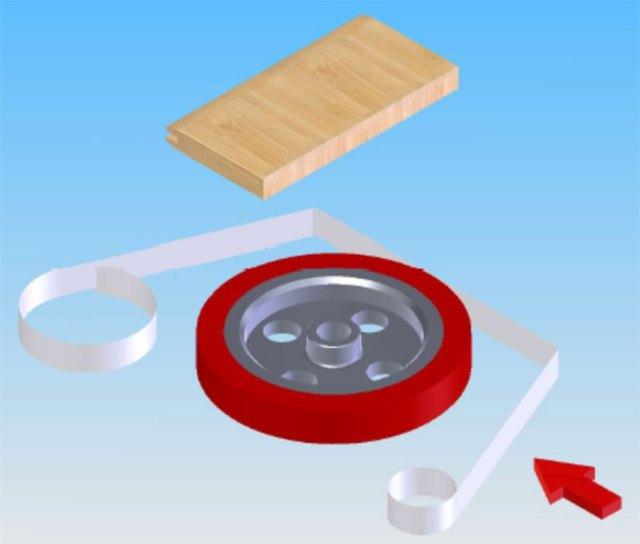 Нанесение краски через фильм-пленку методом термопереноса («hot-stamping») станка для обработки поперечин рамочных фасадов FSFS2, производство Fiorenza Италия