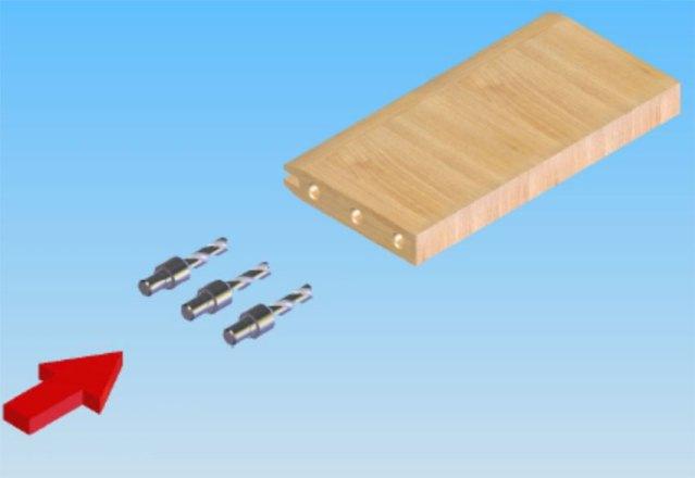 Сверление в торцы под вставку шкантов станка для обработки поперечин рамочных фасадов FSFS2, производство Fiorenza Италия