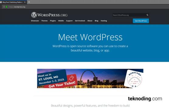 halaman situs awal website wordpress.org