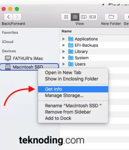 Finder >Icon hardisk/ SSD > Get Info mac os x macbook imac