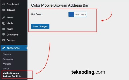 cara mengganti warna address bar menggunakan plugin wordpress